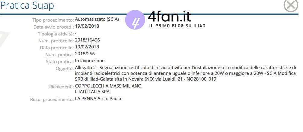 Scia Iliad comune di Novara