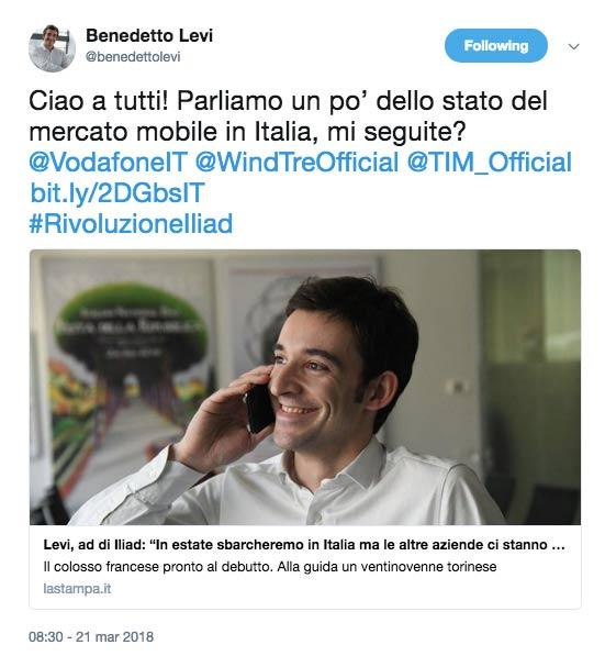 Il primo Tweet di Benedetto Levi