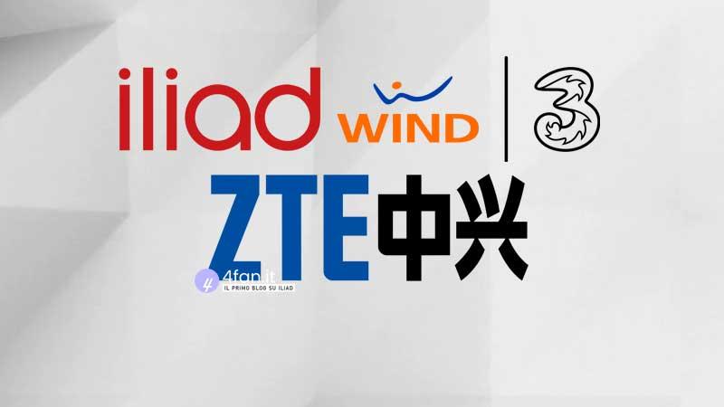 Iliad Wind Tre ZTE loghi