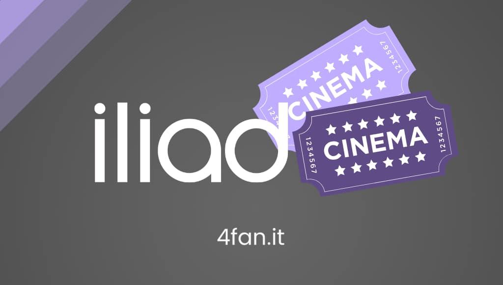 Iliad logo bianco con biglietti cinematografici