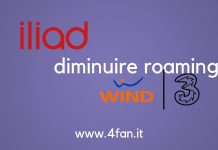 Iliad diminuire roaming Wind Tre