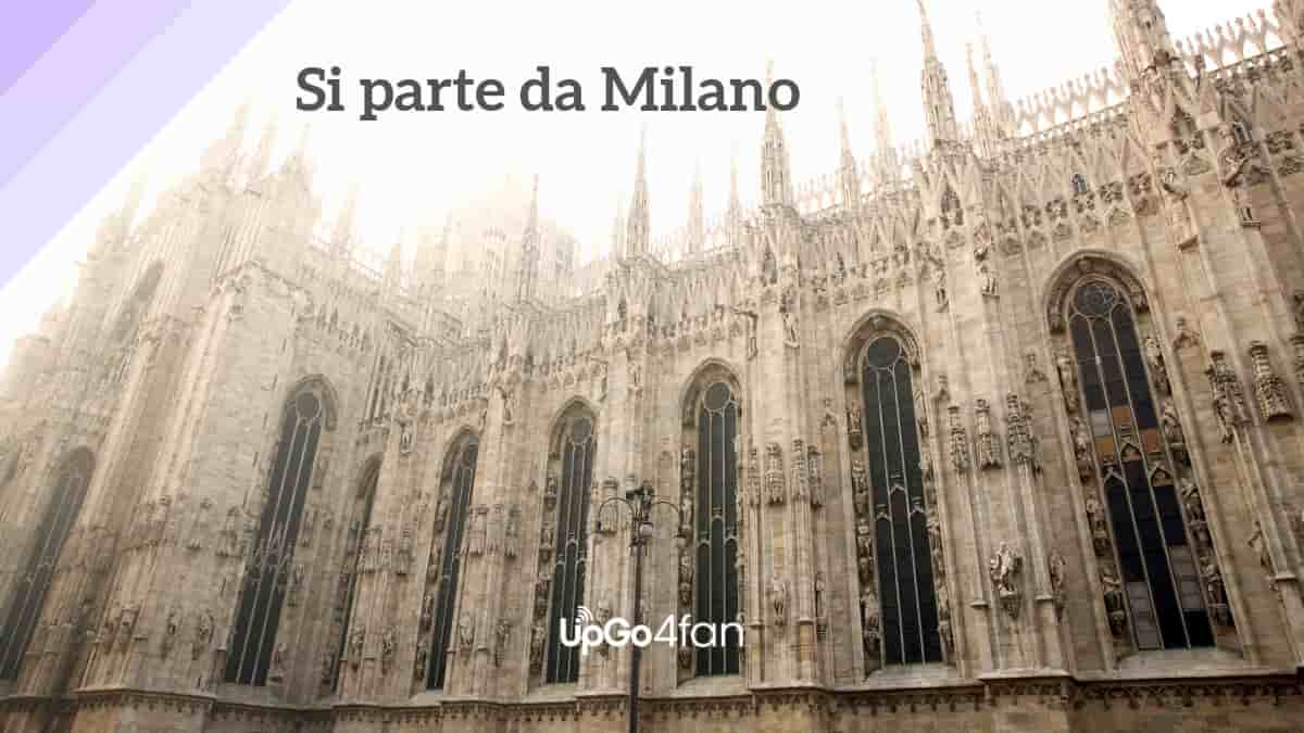 """Foto di parte del Duomo di Milano e scritta """"si parte"""""""