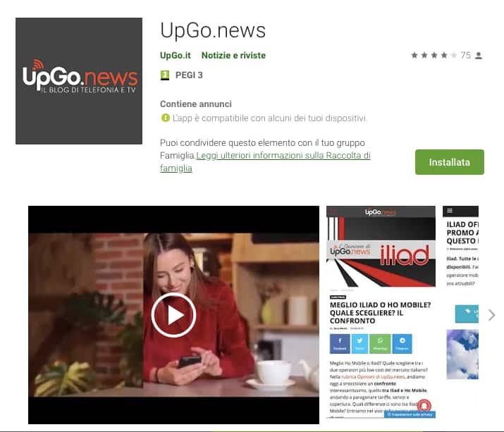 Applicazione Iliad UpGo.news