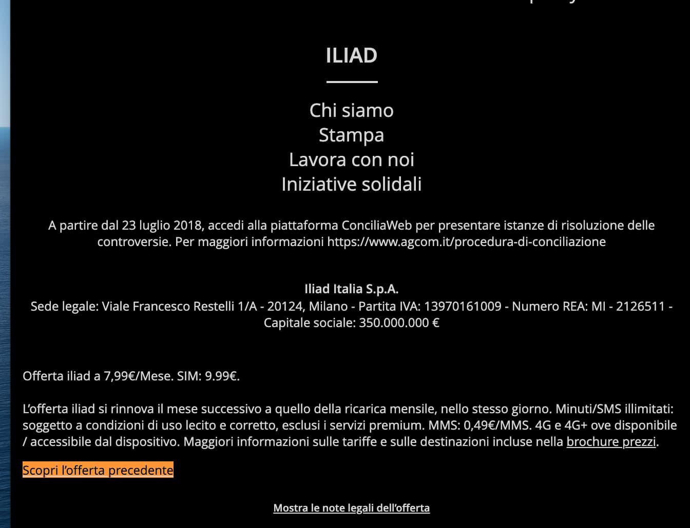 Iliad Offerta Precedente