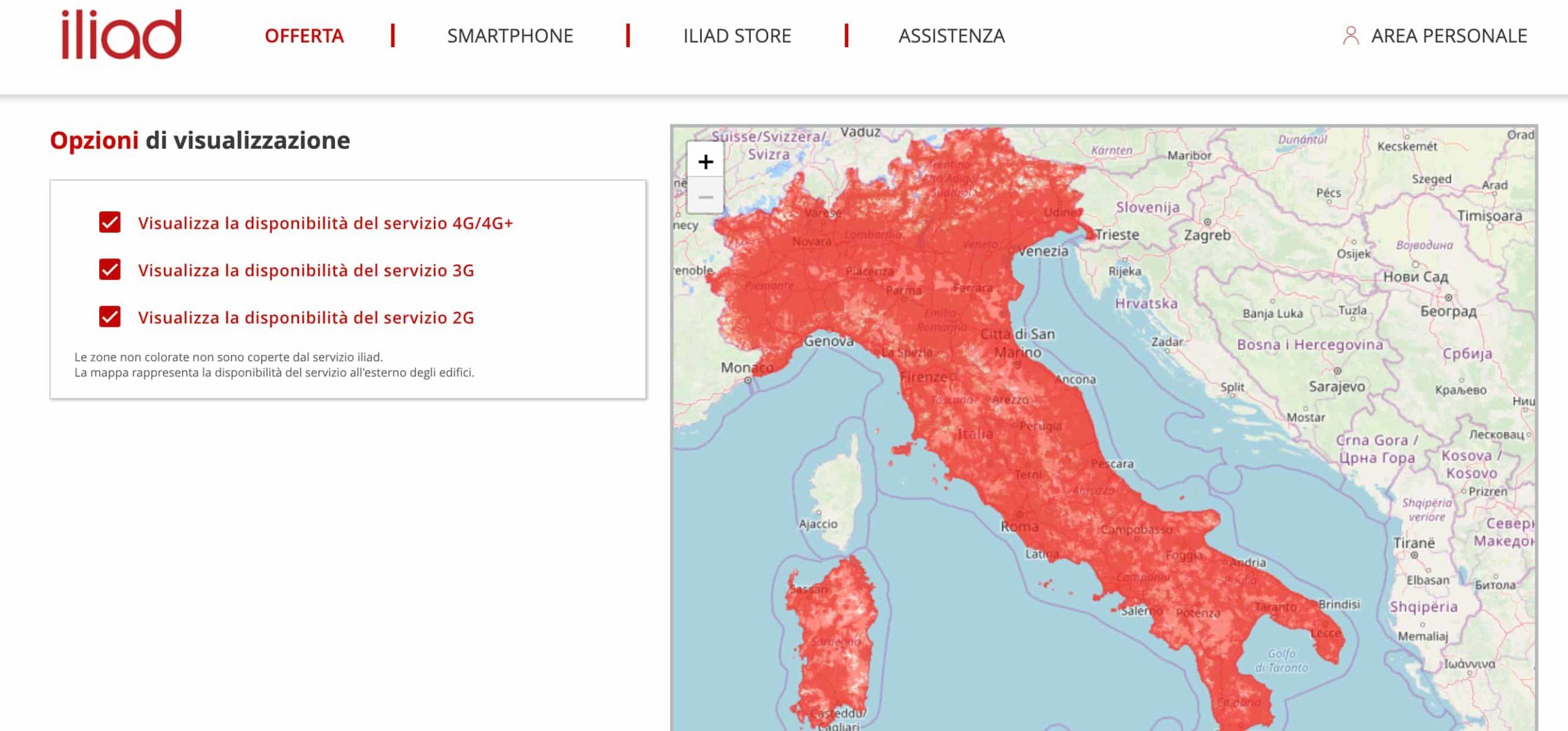 Mappa di copertura Iliad