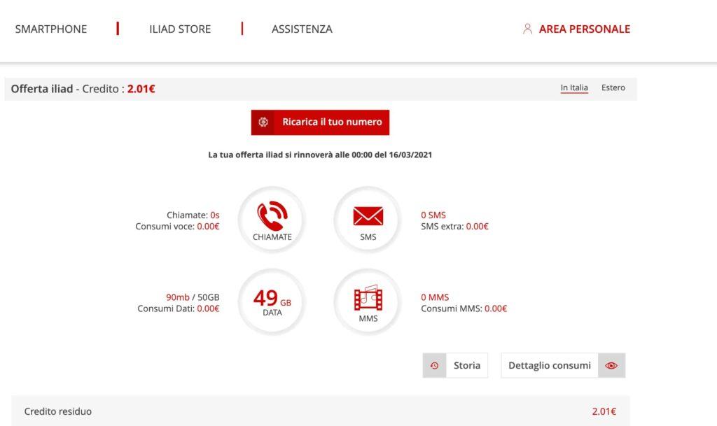 Screenshot Area Personale Iliad / Ricarica