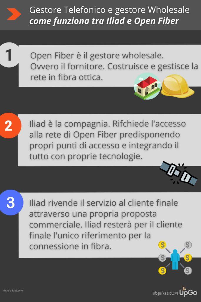 Infografica Iliad, Open Fiber, compagnia telefonica e rete wholesale. Come funziona