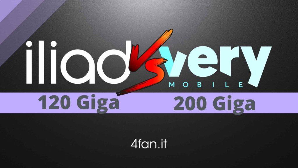 Iliad Offerte 120 Giga vs Very Mobile 200 Giga
