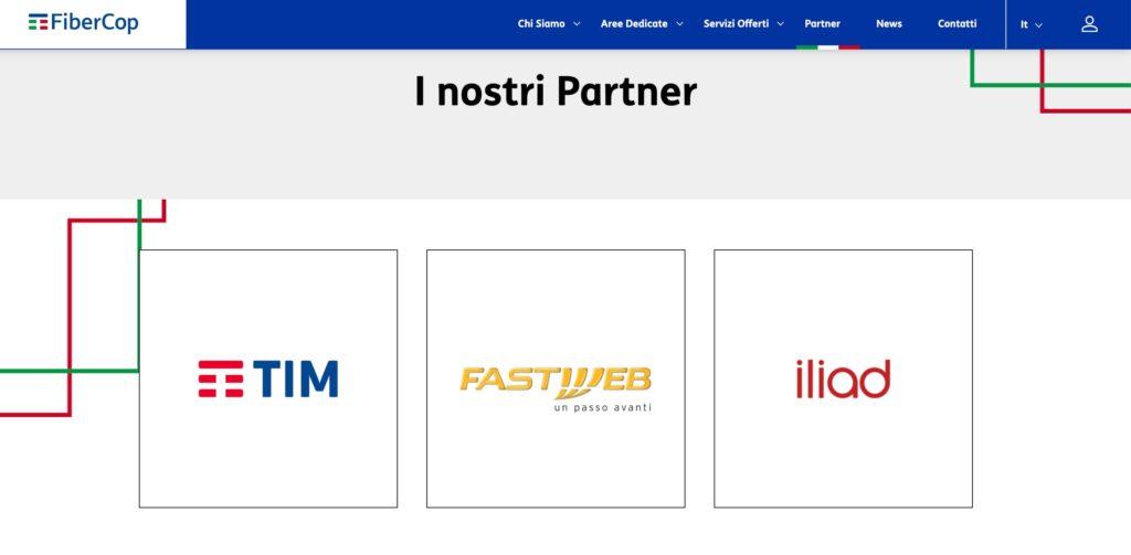 Loghi Tim, Fastweb e Iliad sul sito FiberCop